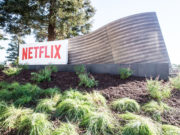 Netflix logo pictured at its Los Gatos offices