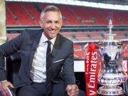 The BBC's Gary Lineker with the FA Cup